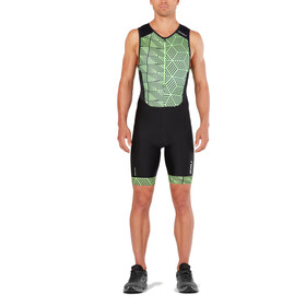 2XU Perform Combinaison avec avec zip frontal Homme, black/geo neo green